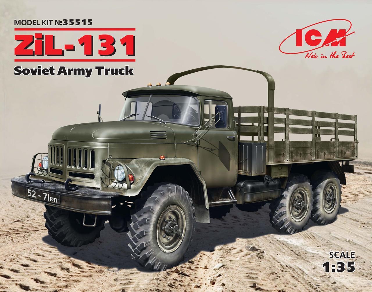 ЗиЛ-131. Сборная модель советского военного грузового автомобиля в масштабе 1/35. ICM 35515