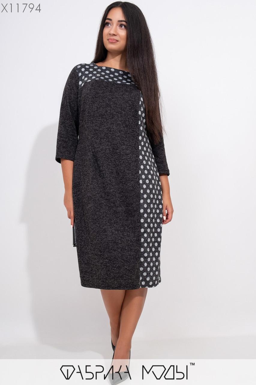 Ангоровое прямое платье в больших размерах с рукавом 3/4 1blr309
