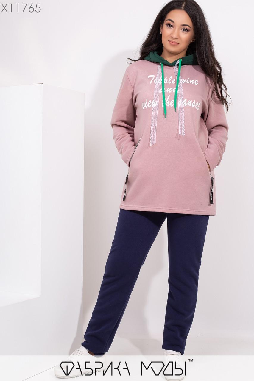 Женский спортивный утепленный костюм в больших размерах с худи 1blr314