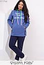 Женский спортивный утепленный костюм в больших размерах с худи 1blr314, фото 2
