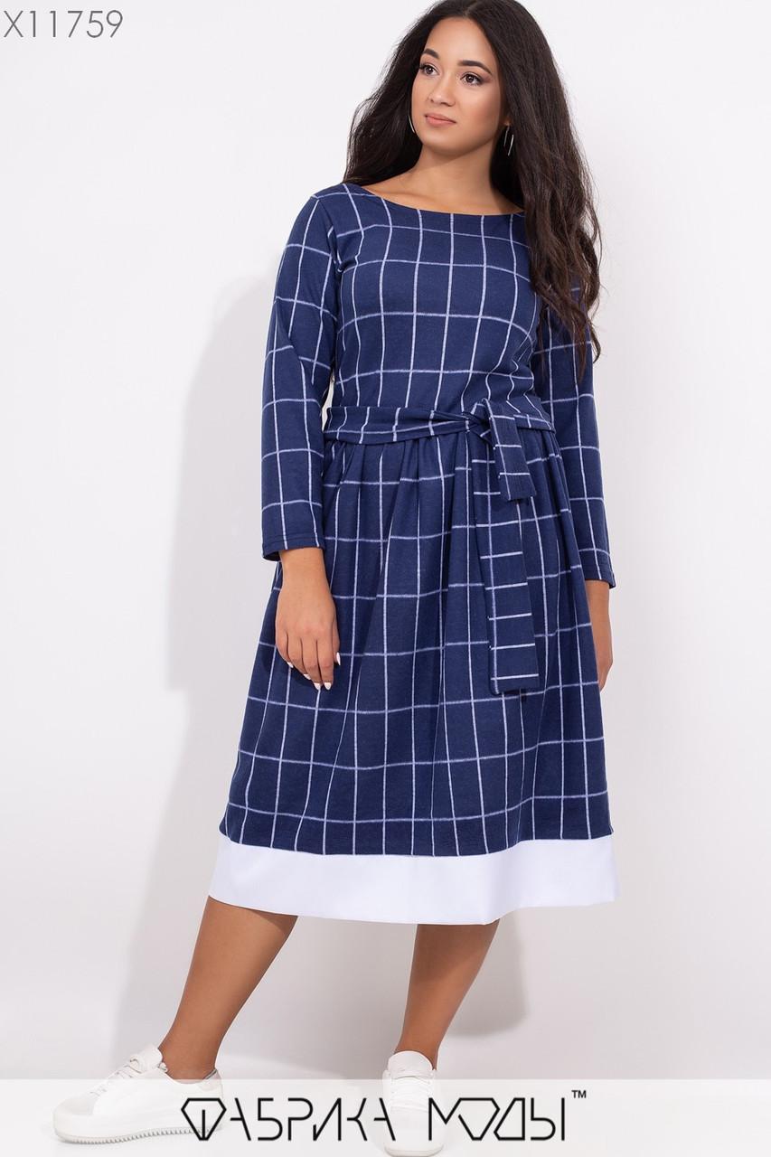 Платье миди с пышной юбкой в больших размерах из кашемира 1blr316
