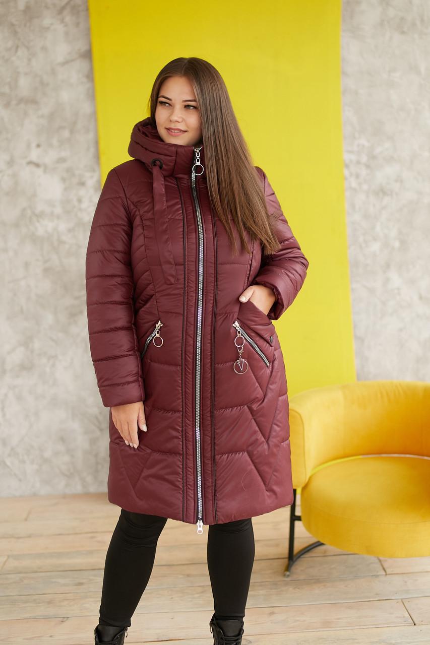 Женская удлиненная куртка в больших размерах с капюшоном 31blr321