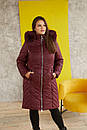 Женская удлиненная плащевая куртка в больших размерах с капюшоном и опушкой 31blr322, фото 2