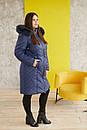Женская удлиненная плащевая куртка в больших размерах с капюшоном и опушкой 31blr322, фото 3