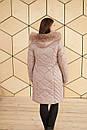 Женская удлиненная плащевая куртка в больших размерах с капюшоном и опушкой 31blr322, фото 4