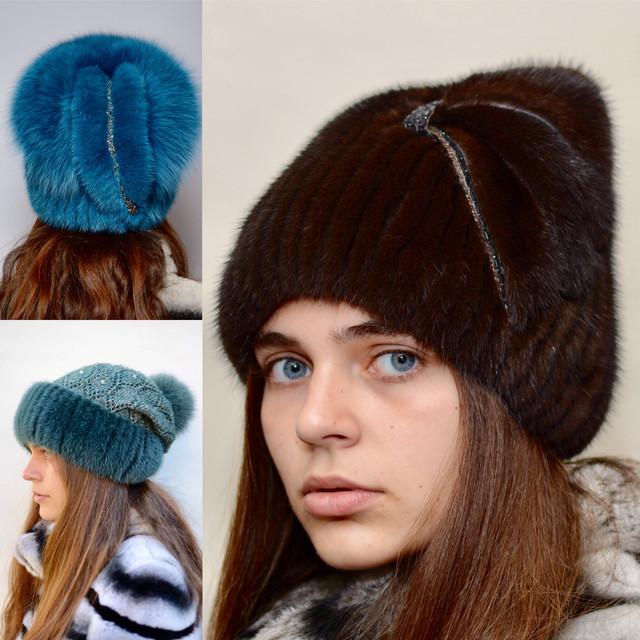 Женские меховые норковые шапки на вязаной основе