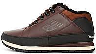 Мужские зимние кроссовки New Balance 754 'Brown/Black' (в стиле Нью Баланс) с мехом