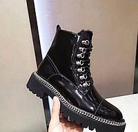 """Ботинки зимние женские кожаные """"Бальман"""" черные премиум-качество размер 37-40 balmain"""