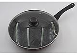 Сковорідка Benson BN-342 28 см з кришкою і мармуровим покриттям, фото 2
