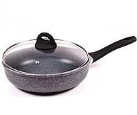 Сковородка Benson BN-493 28 см с крышкой с мраморным покрытием