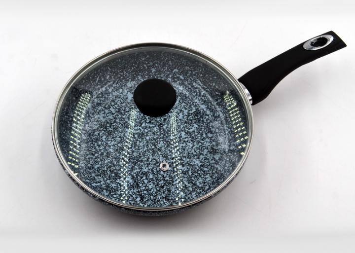 Сковорідка Benson BN-520 28*8 см глибока з кришкою і гранітним покриттям