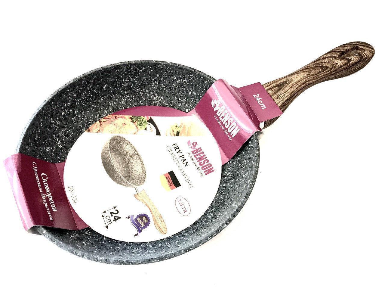 Сковородка Benson BN-534 24 см с серо-бело-черным гранитным покрытием