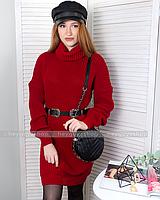Вязаное шерстяное платье теплое красное свободное оверсайз с горлом