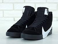 """Мужские зимние кроссовки Nike Blazer """"Black"""" ( В стиле Найк )"""