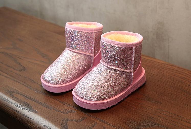 Угги детские зимние на меху на девочку розовые с блестками 32,36 р.