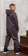 Комбинезон трикотажный подростковый с капюшоном на молнии, хлопок, рост 128, возраст 7-8 лет, фото 1