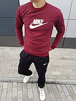 Штаны и свитшот мужской флисовый комплект Nike бордовый с черным (мультибренд)