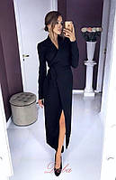 Длинное женское платье-халат на запах под пояс  42-44,46-48