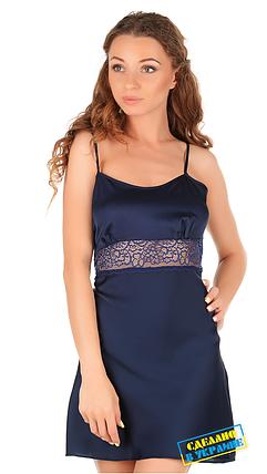 Шелковая ночная рубашка с кружевом Martelle Lingerie (темно-синяя), фото 2