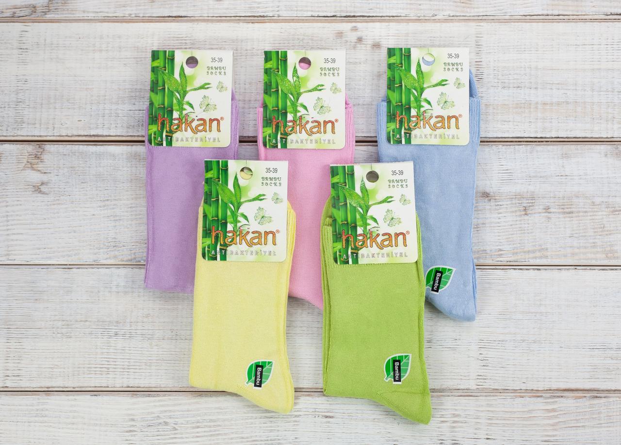 РОЗПРОДАЖ Жіночі шкарпетки стрейч Hakan антибактеріальні однотонні 35-39 12 шт уп мікс 5 кольорів