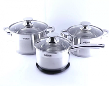 Набор посуды Benson BN-243 из нержавеющей стали 7 предметов (3 л; 4 л + 2,1 л ковш) и подставка