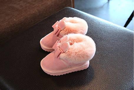 Угги детские зимние на меху на девочку розовые Зайчики 23-25 р., фото 2