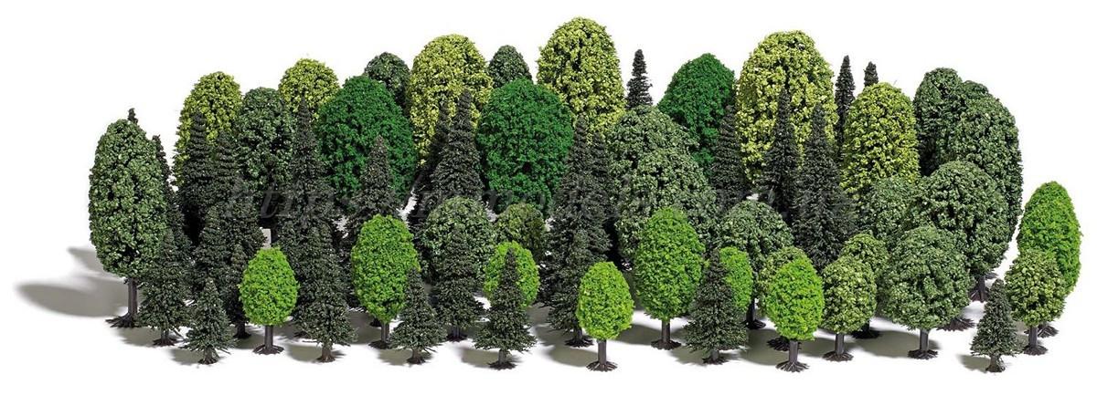 """Busch 9764 Супер набор деревьев """" мешаный лес"""" - 70 штук. Высота деревьев от 40 до 150 мм TT,H0"""