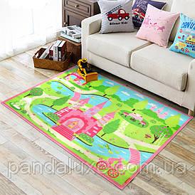Килим для дитячої кімнати на гумовій основі Замок принцеси 100 х 130 см
