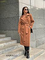 Кашемірове Жіночі пальто жіноче міді під пояс з відкладним коміром 17mpa236