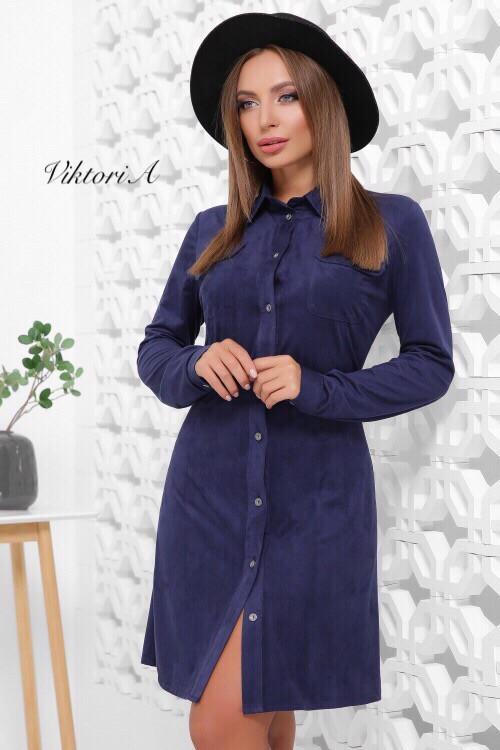 Замшевое платье рубашка с длинным рукавом 81mpa226, фото 1