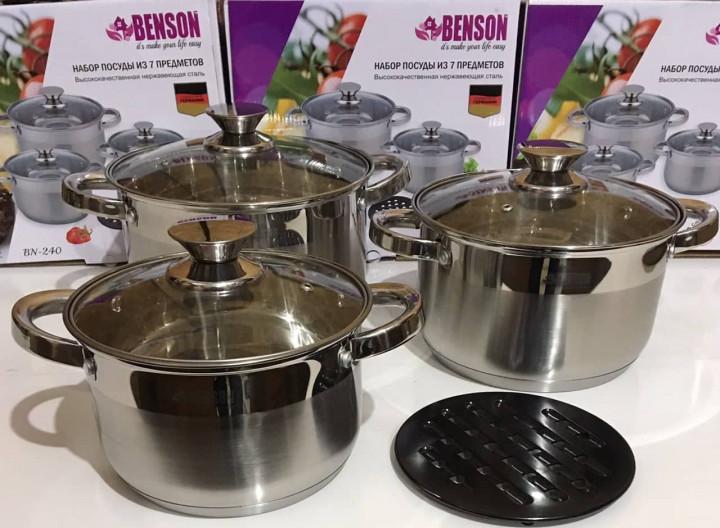 Набор посуды Benson BN-240 из нержавеющей стали 7 предметов (3 л; 4 л; 5,1 л) и подставка