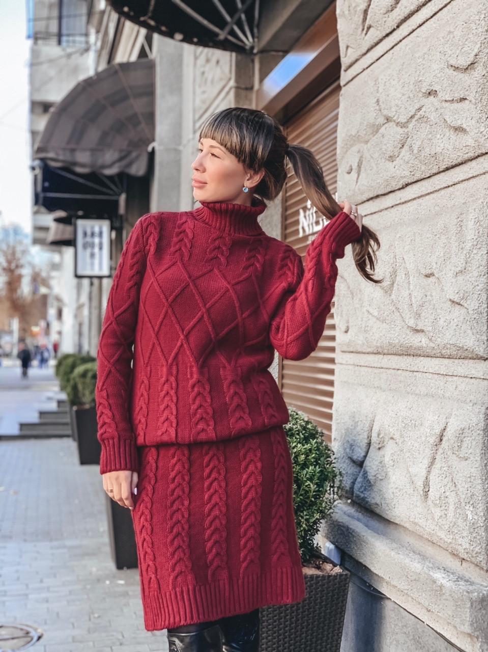 Вязаное платье с узорной вязкой и высоким воротником 33mpa235, фото 1