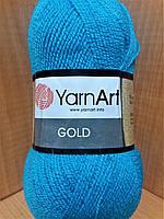Акриловая пряжа с люрексом YarnArt Gold 9008 (бирюза)