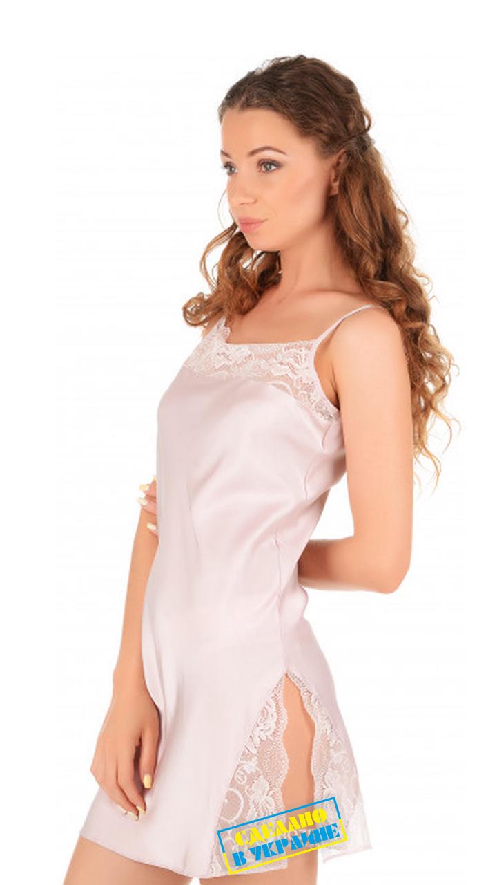 Шелковая ночная рубашка на бретелях Martelle Lingerie (розовая пудра)