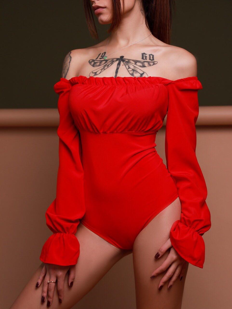 Женское боди с открытыми плечами и рукавами - фонариками 80mbo328, фото 1