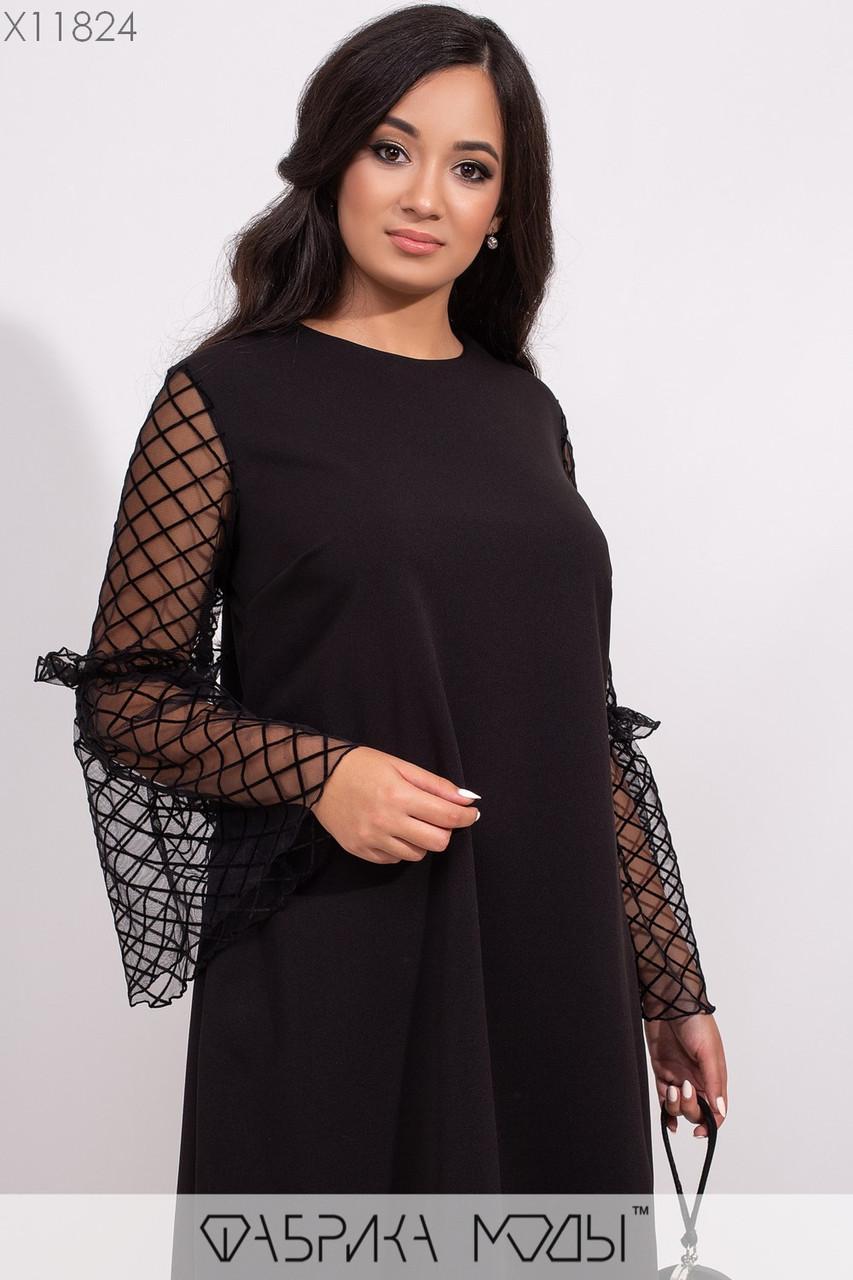 Платье - трапеция в больших размерах с рукавами клеш из сетки 1mbr295, фото 1