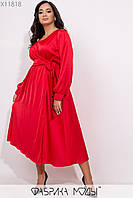 Шелковое платье миди в больших размерах с верхом на запах 1mbr296, фото 1