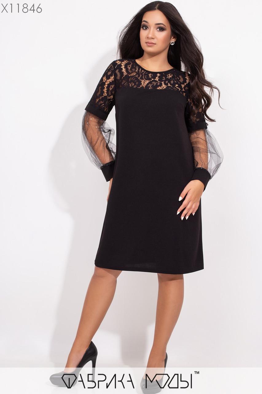 Платье - трапеция большого рзмера с гипюром и напылением на сетке 1mbr302, фото 1