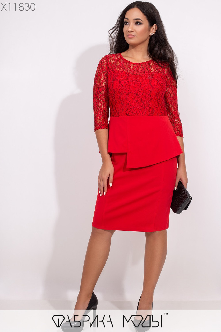 Платье в больших размерах с гипюровым верхом и баской 1mbr304, фото 1