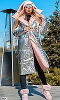 Пуховик двусторонний женский зимний удлиненный плащевка на силиконе размер 42-46 универсальный,серебро/пудра