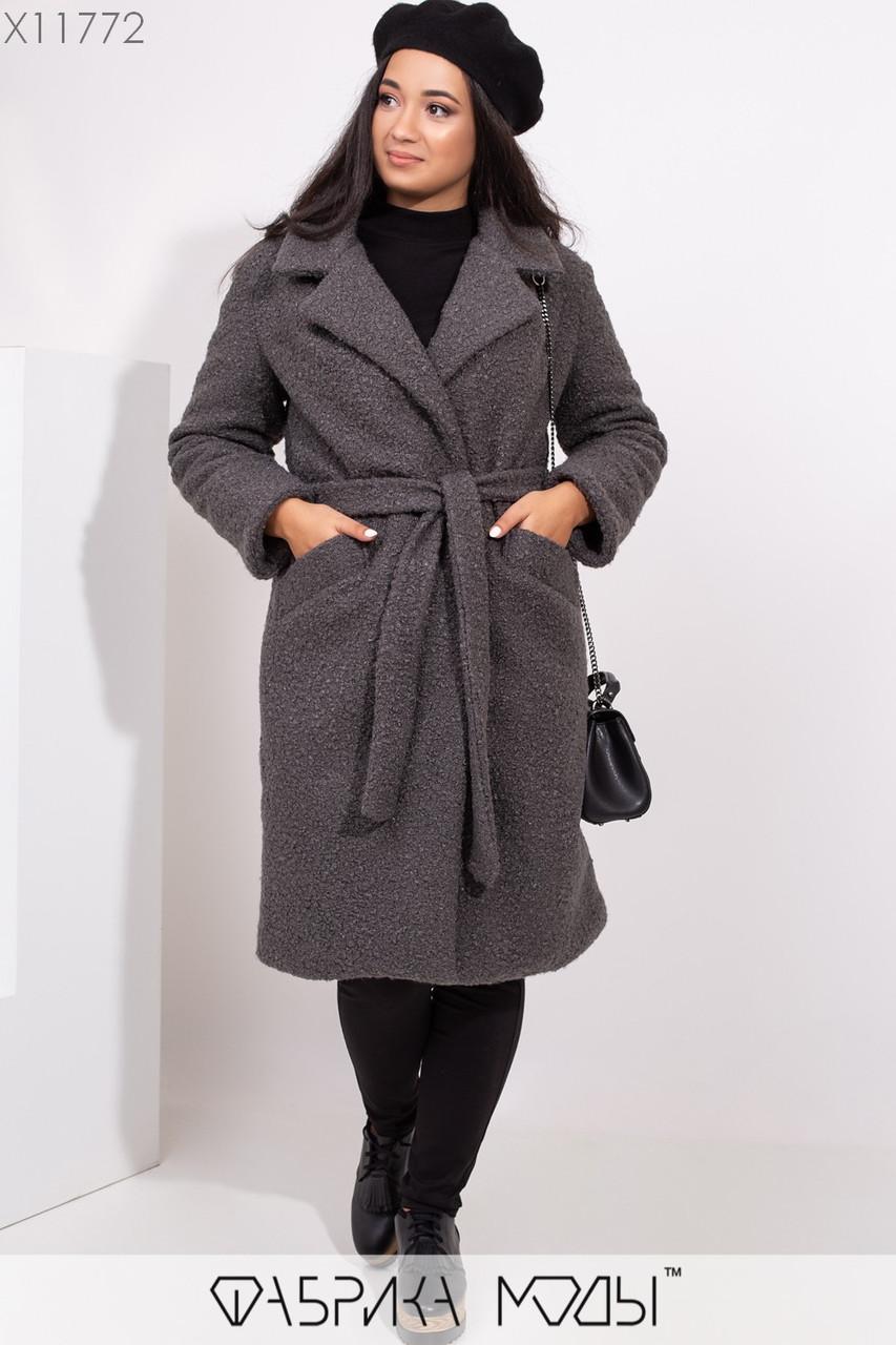 Буклированное женское Женские пальто в больших размерах с отложным воротником 1mbr311, фото 1