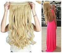 Волосы на заколках тресс на ленте затылочная прядь волна №86/613  блонд с желтинкой длина 55см