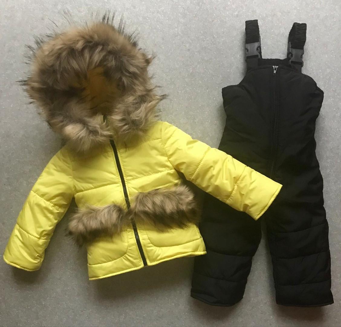Комбинезон детский, зимний, мех под овчину, комплект куртка и полукомбинезон