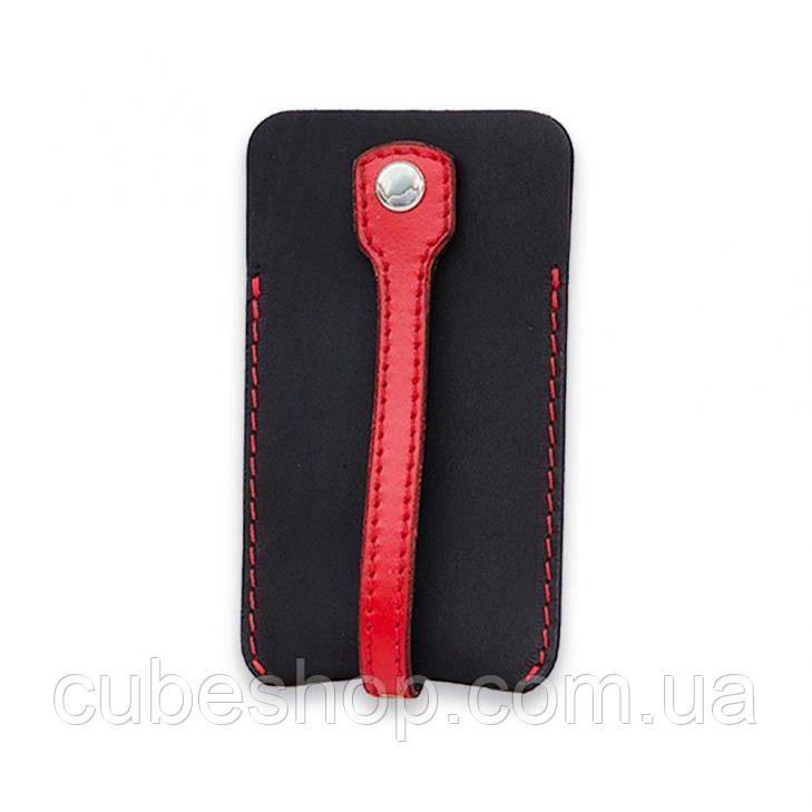 Кожаная ключница (черная с красным)