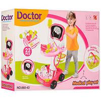 Набор доктора Limo Toy 660-44, тележка розовая