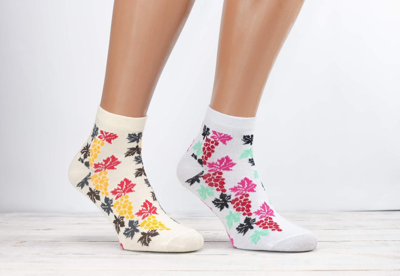 Шкарпетки жіночі стрейч Marde з малюнком виноградне листя і грона 36-39 12 шт в уп мікс кольорів