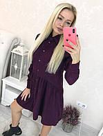 Короткое вельветовое женское платье свободного кроя на пуговичках 42-46