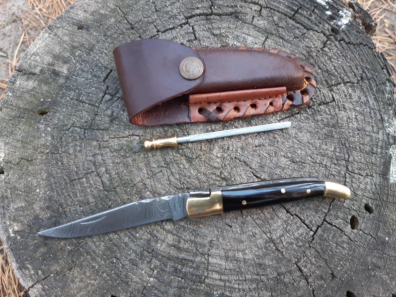 Нож складной  из дамасской стали+ точилка ручная работа ,эксклюзив(Рог буйвола)