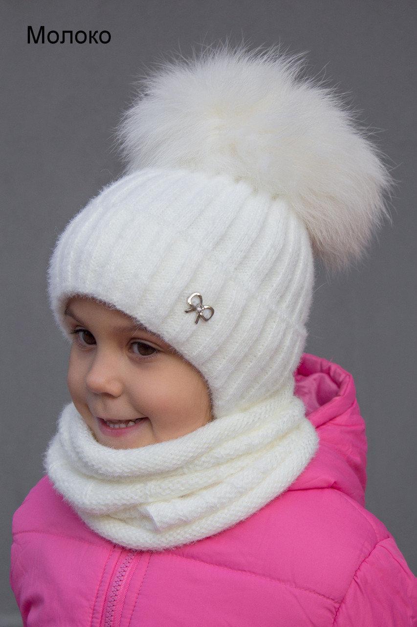 Детская шапка шик с завязками с натуральным помпоном