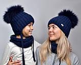 Детская шапка шик с завязками с натуральным помпоном, фото 3